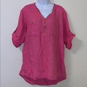 Company ellen tracy linen pink blouse